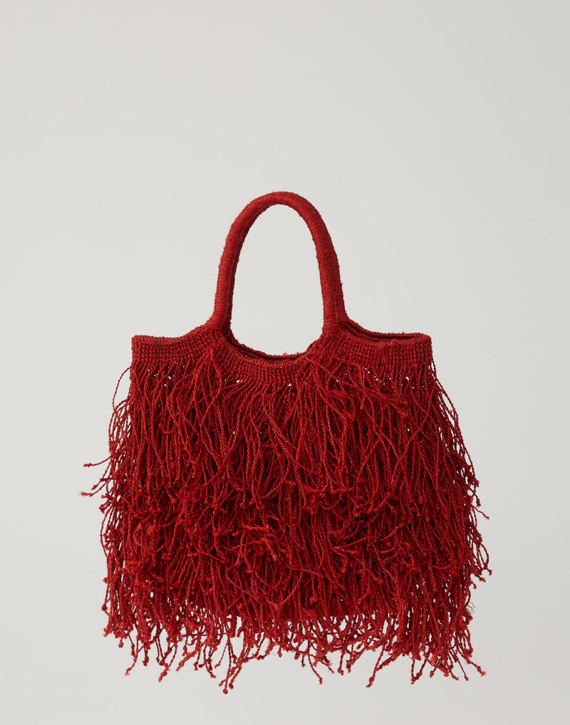 Red Jute Macramé Fringe Bag