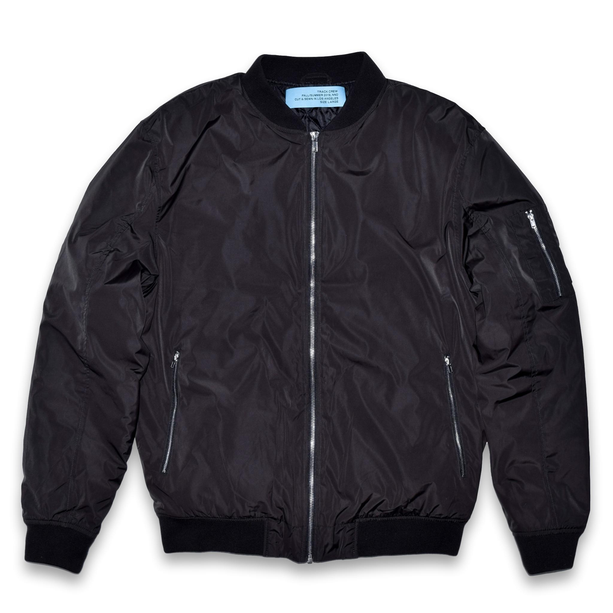 quilted bomber jacket - black