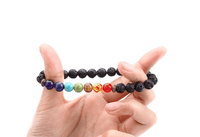 Black Lava Stone 7 Chakra Healing Bracelet - Healing Bracelet For Energy Balance Reiki, Prayer or Yoga - 70% Off - 6 Lynx - Boho Accessories
