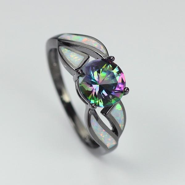 Black Filled Amethyst and Fire Opal Ring