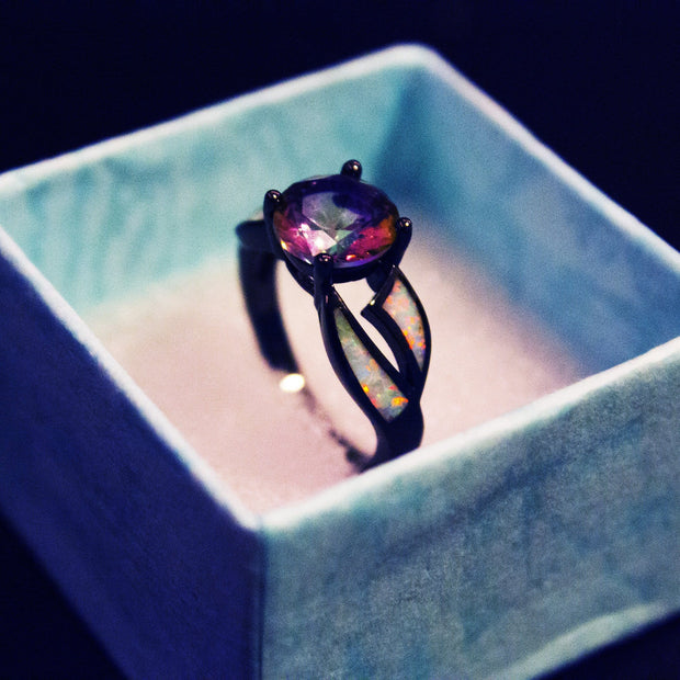 8 Type Black Filled Fire Opal Ring - 75% OFF TODAY!