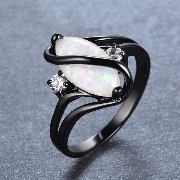 S Type Black Filled Fire Opal Ring