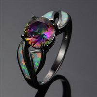 Black Filled Amethyst and Fire Opal Ring - 6 Lynx - Boho Accessories