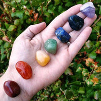 CHAKRA HEALING 7 STONE Tumbled Crystal Set (S2) with Instruction Booklet & Pouch - 6 Lynx - Boho Accessories