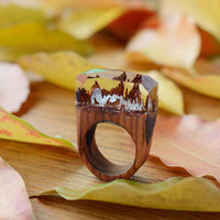 Resin Wooden Rose Secret Forest Miniature World Ring - 6 Lynx - Boho Accessories
