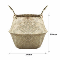 New Foldable Natural Woven Seagrass Plant and Storage Basket - 6 Lynx - Boho Accessories