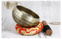 Collectable Hand Hammered Tibetan Singing Bowl With Wooden Hammer and Cushion for Deep Meditation - Save 50% Today Only - 6 Lynx - Boho Accessories