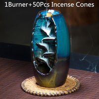 Enough Stock Incense Burner with 10Pcs Incense Cones Ceramic Waterfall Incense Holder - 6 Lynx - Boho Accessories