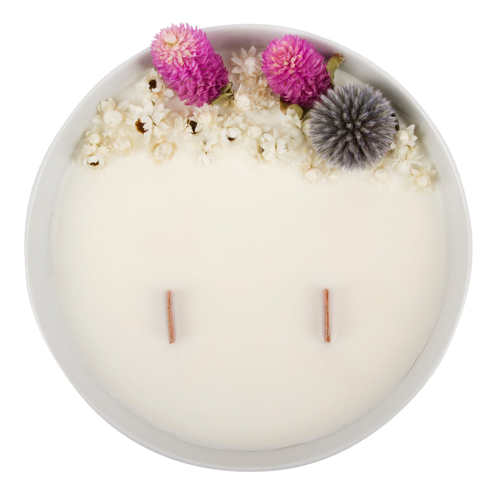 Bougie Fleurie au Jasmin - Grande - Flower Candle - Dried Flowers - Bougie Fleurie - Bougie Bio Vegan - Bougie Paris Organic Cocoon