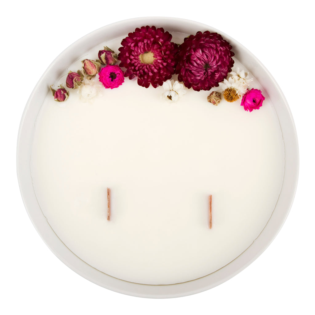 Bougie Fleurie à la Rose - Grande - Flower Candle - Dried Flowers - Bougie Fleurie - Bougie Bio Vegan - Bougie Paris Organic Cocoon