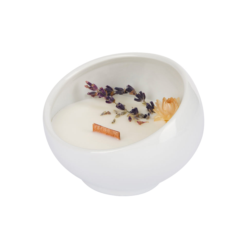 Bougie Fleurie à la Lavande - Cocon - Flower Candle - Dried Flowers - Bougie Fleurie - Bougie Bio Vegan - Bougie Paris Organic Cocoon
