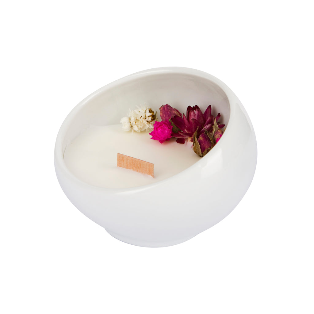 Bougie Fleurie à la Rose - Cocon - Flower Candle - Dried Flowers - Bougie Fleurie - Bougie Bio Vegan - Bougie Paris Organic Cocoon