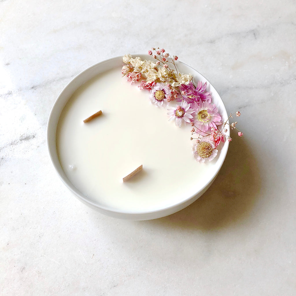 Bougie Fleurie au Géranium - Grande - Flower Candle - Dried Flowers - Bougie Fleurie - Bougie Bio Vegan - Bougie Paris Organic Cocoon