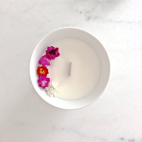 Bougie Fleurie à l'Ylang Ylang - Petite - Flower Candle - Dried Flowers - Bougie Fleurie - Bougie Bio Vegan - Bougie Paris Organic Cocoon