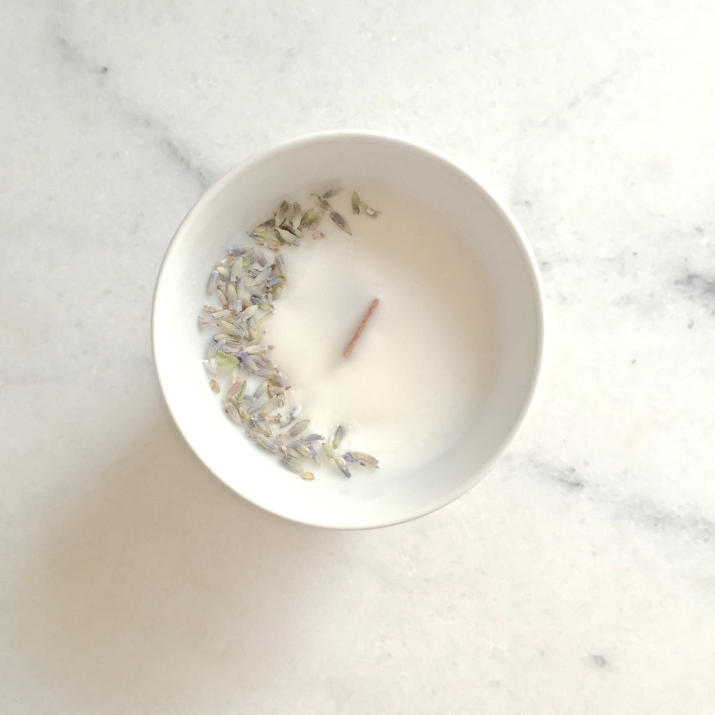 lavender flower candle organic cocoon made in paris