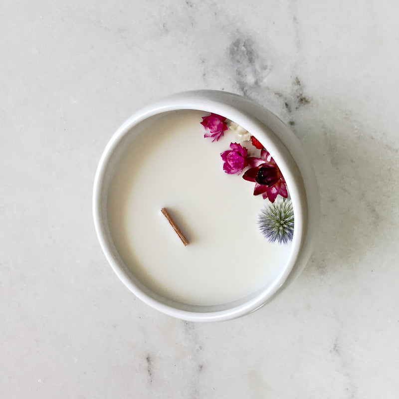 Bougie Fleurie à l'Ylang Ylang - Cocon - Flower Candle - Dried Flowers - Bougie Fleurie - Bougie Bio Vegan - Bougie Paris Organic Cocoon