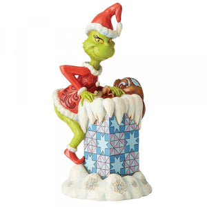 The Grinch Climbing into Chimney