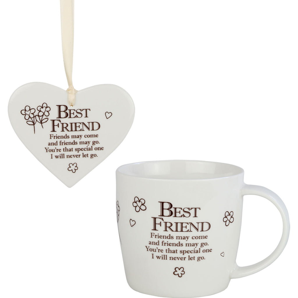 Best Friends - Mug and Ceramic Heart Gift Set - The Gift Shop Oulton Broad