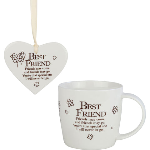 Best Friends - Mug and Ceramic Heart Gift Set