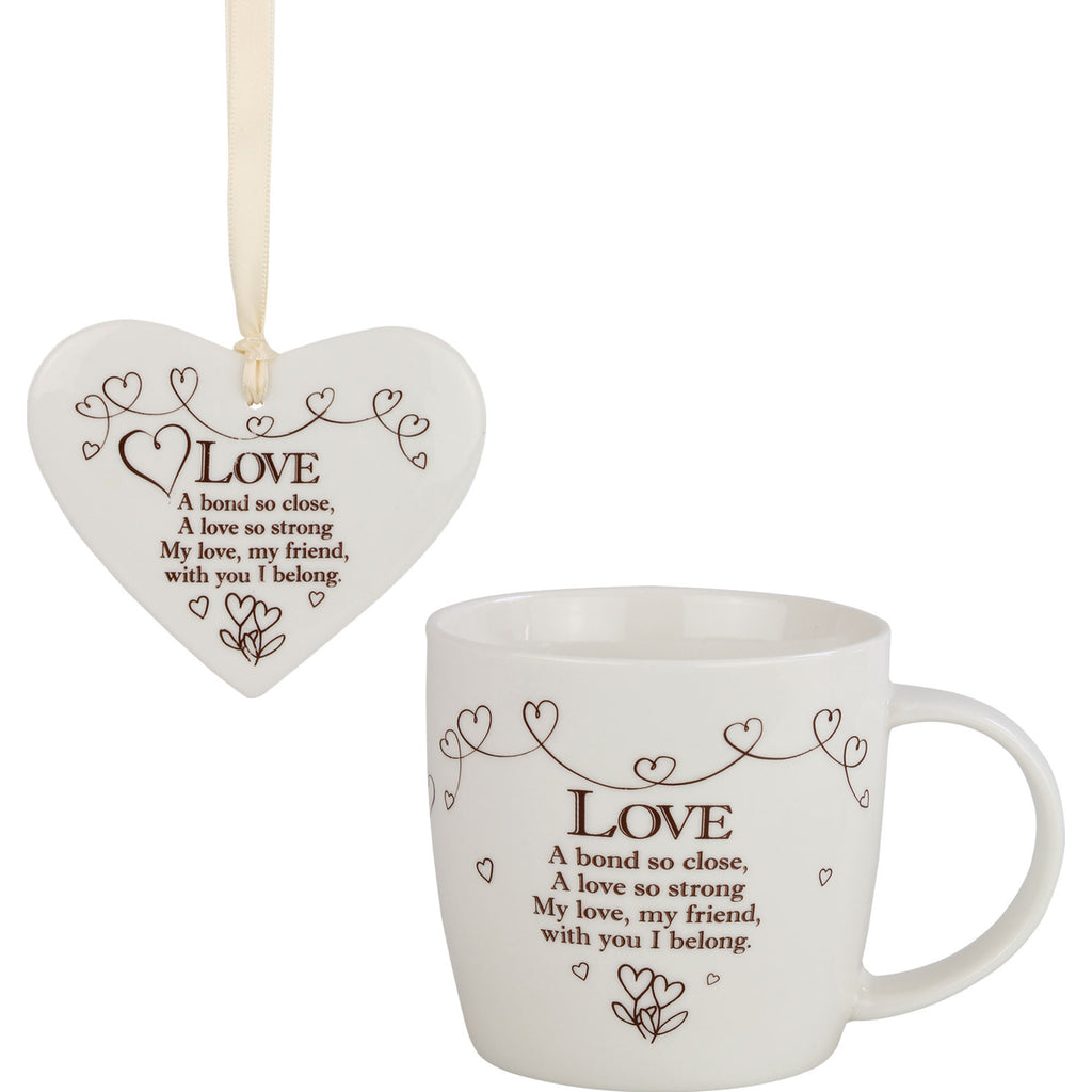 Love - Mug and Ceramic Heart Gift Set - The Gift Shop Oulton Broad