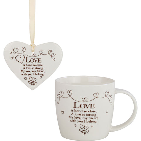 Love - Mug and Ceramic Heart Gift Set