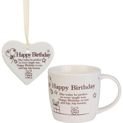 Happy Birthday - Mug and Ceramic Heart Gift Set - The Gift Shop Oulton Broad