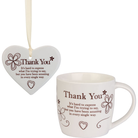 Thank You - Mug and Ceramic Heart Gift Set