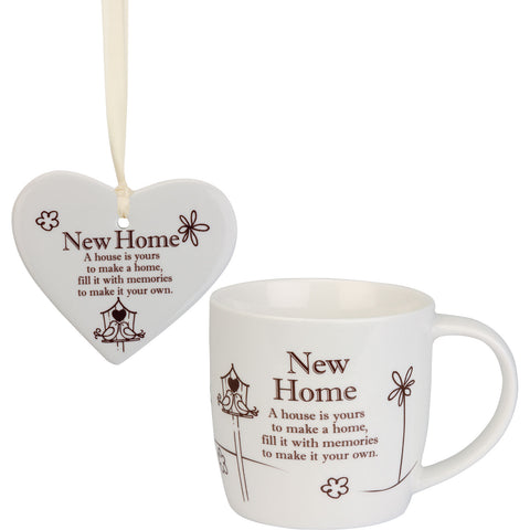 New Home - Mug and Ceramic Heart Gift Set