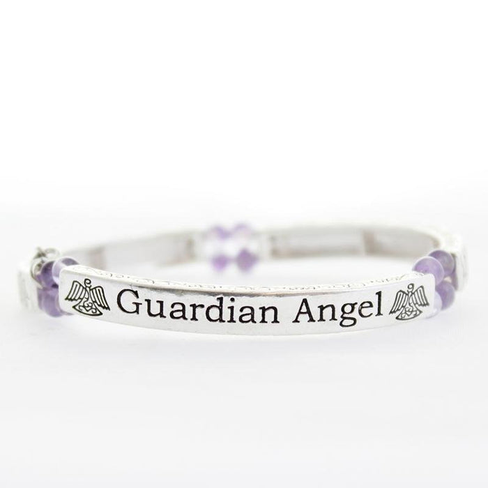 Amethyst Guardian Angel Sentiment Bracelet