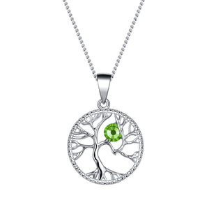 August Tree of Life Swarovski Birthstone Necklace - Pure by Coppercraft from thetraditionalgiftshop.com