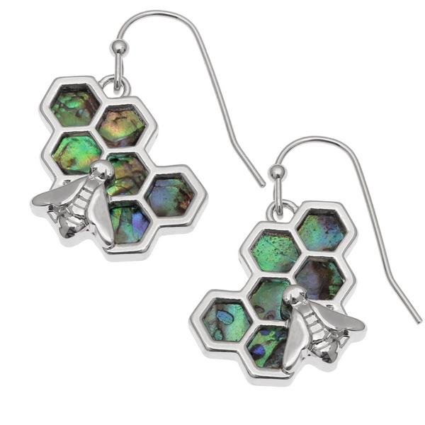 Bee on Honeycomb Paua Shell Earrings