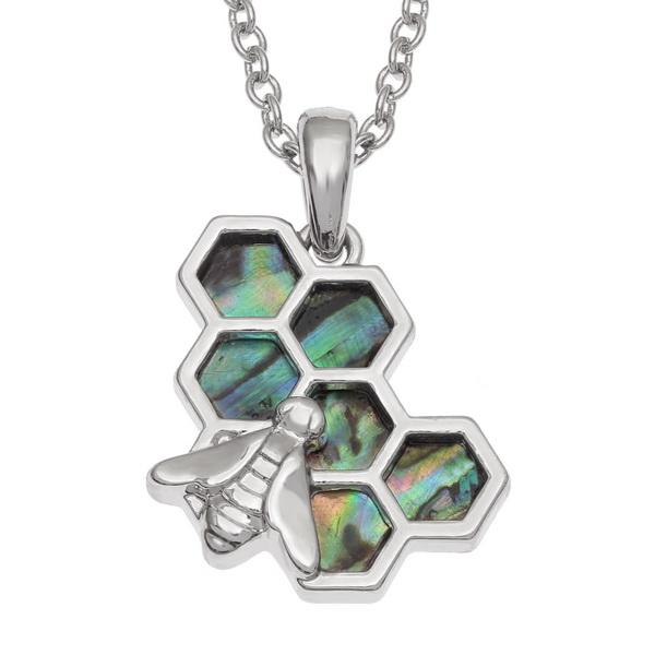 Bee on Honeycomb Paua Shell Necklace