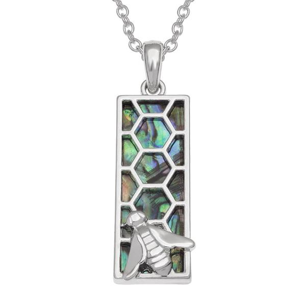 Bee on Honeycomb (Rectangle) Paua Shell Necklace