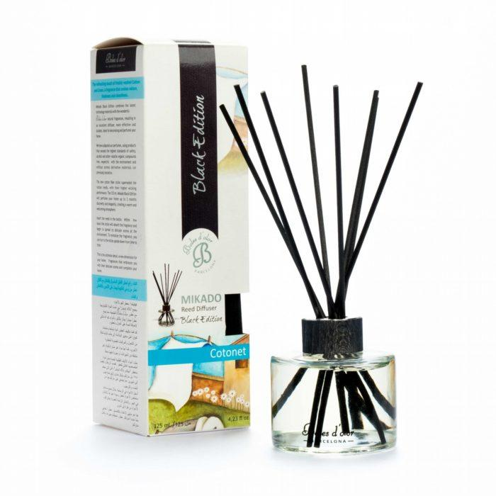 Cotton (Cotonet) Mikado Black Edition Reed Diffuser - Mikado Black Edition Reed Diffusers from thetraditionalgiftshop.com