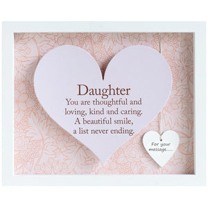 Daughter Sentiment Heart Frame - Said with Sentiment from thetraditionalgiftshop.com