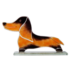 Douglas the Dachshund Dog Fused Glass Ornament - D&J Glassware Fused Glass from thetraditionalgiftshop.com