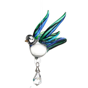 Fantasy Glass Songbird - Peacock - Wild Things Crystal from thetraditionalgiftshop.com