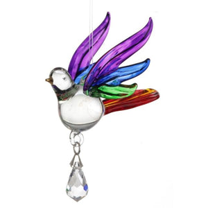 Fantasy Glass Songbird - Rainbow - Wild Things Crystal from thetraditionalgiftshop.com