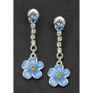 Forget Me Not Drop Stud Earrings - Equilibrium Jewellery from thetraditionalgiftshop.com