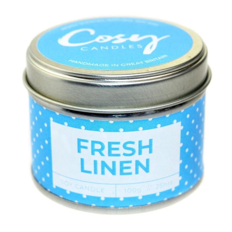 Fresh Linen Small Tin Candle - Cosy Candles from thetraditionalgiftshop.com