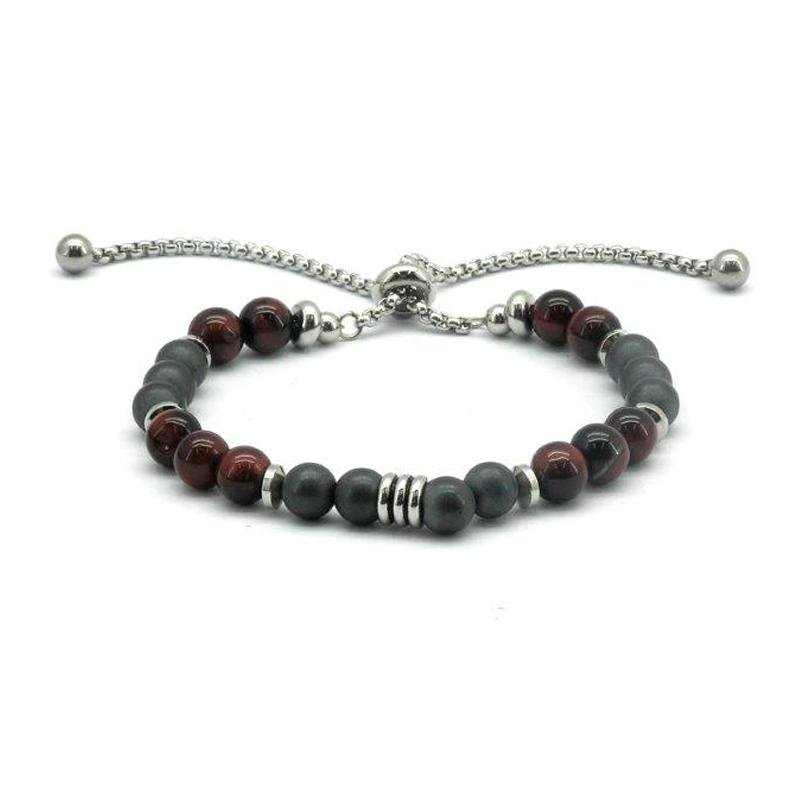 Frosted Magnetic Hematite Beaded Adjustable Bracelet (FH0085)