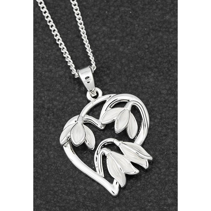 Graceful Snowdrop Heart Necklace - Equilibrium Jewellery from thetraditionalgiftshop.com