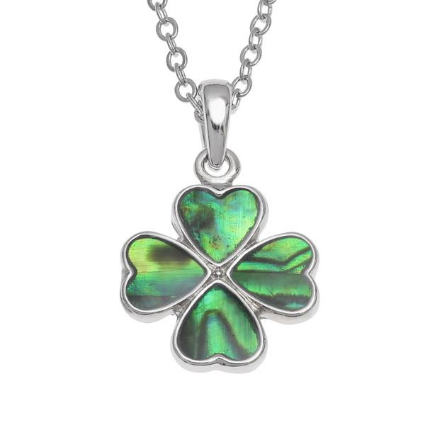 Green Clover Paua Shell Necklace - Tide Jewellery from thetraditionalgiftshop.com