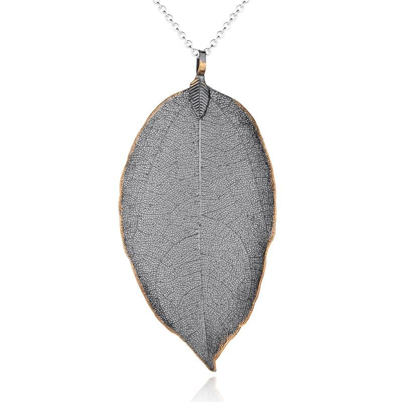 Gunmetal Leaf Necklace