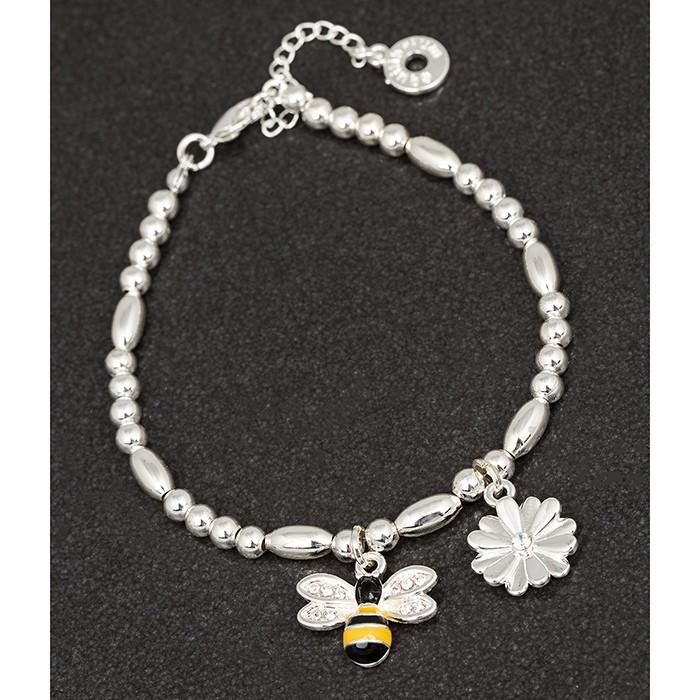 Handpainted Bee with Flower Charm Bracelet