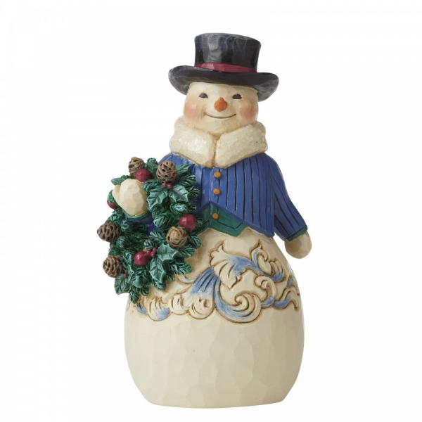 Hearty Winter Wishes (Victorian Snowman with Wreath)