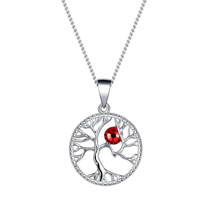 July Tree of Life Swarovski Birthstone Necklace