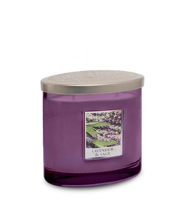 Lavender & Sage Ellipse 2 Wick Candle - Heart & Home from thetraditionalgiftshop.com