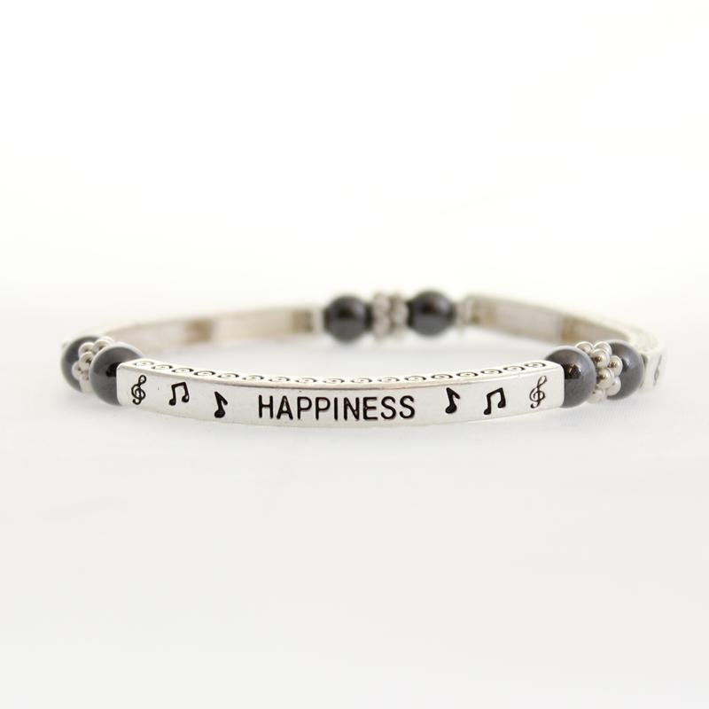 Magnetic Hematite Happiness Sentiment Bracelet