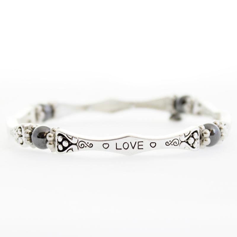 Magnetic Hematite Love Sentiment Bracelet